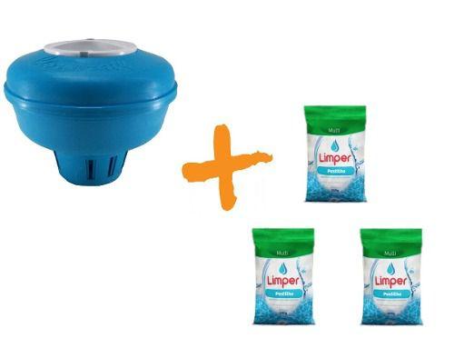 Clorador Flutuante Para Piscina + 03 Pastilha De Cloro 200g Limper