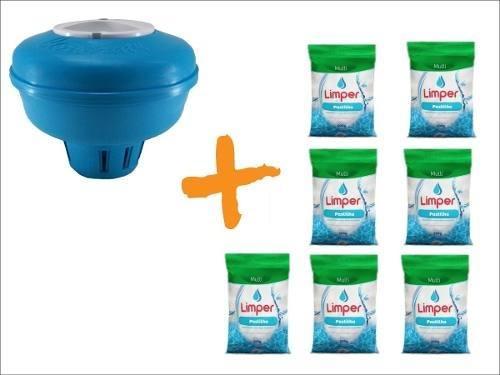 Clorador Flutuante Para Piscina + 07 Pastilha De Cloro 200g Limper