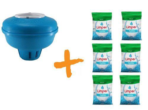 Clorador Flutuante Para Piscina + 06 Pastilha De Cloro 200g Limper