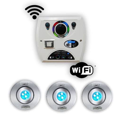 Kit 3 Hiper Led 9w Inox + Comando Four Fix Wifi Sodramar