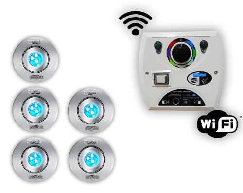 Kit 5 Hiper Led 9w Inox + Comando Four Fix Wifi Sodramar