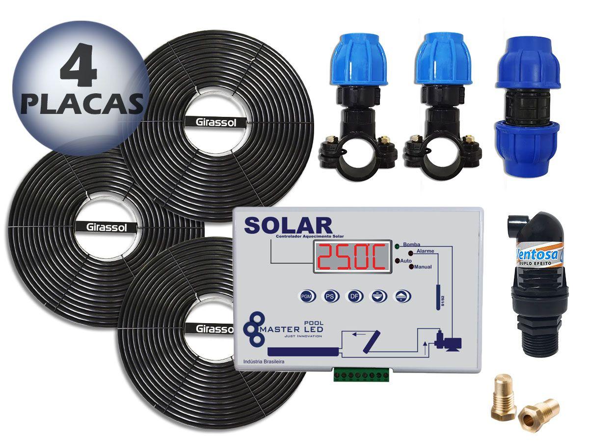 Aquecedor Solar Para Piscinas Ate 16m³ 4 Placas G1 Girassol + Controlador de Temperatura