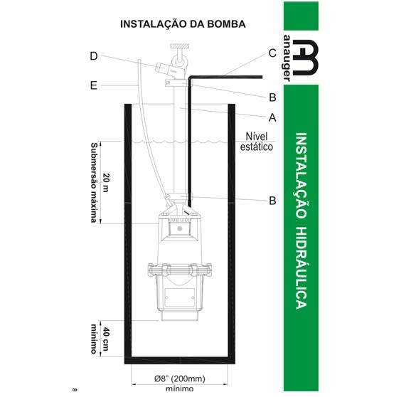 Bomba D´agua Submersa Vibratória Anauger 800 1970/hora 380w 220V