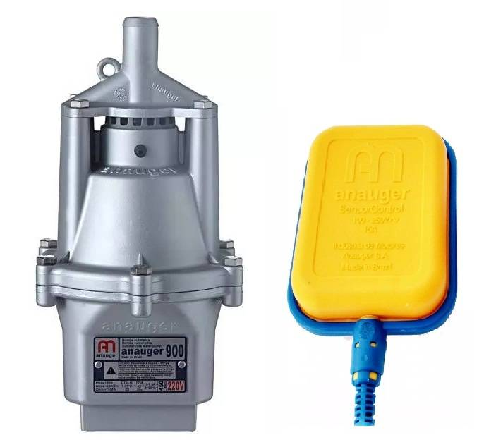 Bomba D´agua Submersa Vibratória Anauger 900 2300/hora + Chave Bóia Anauger 220V