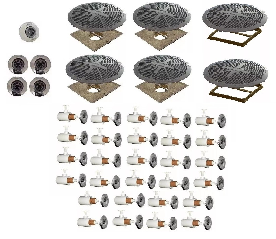 Kit 1 Dispositivo de Aspiração 4 Retornos 28 Hidromassagem 4 Dreno Sodramar 2 Grades 15x15 Sodramar