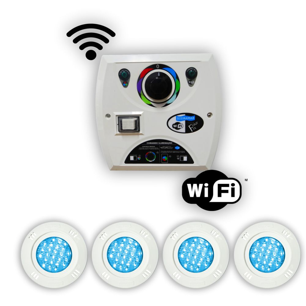 Kit 4 Led Piscina 9w Rgb + Comando Four Fix Wifi Sodrama