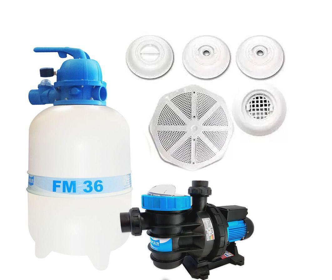 Kit Completo Para Piscina Filtro FM-36  Bomba BMC 1/3 Cv Até 42 Mil Litros + Dispositivos