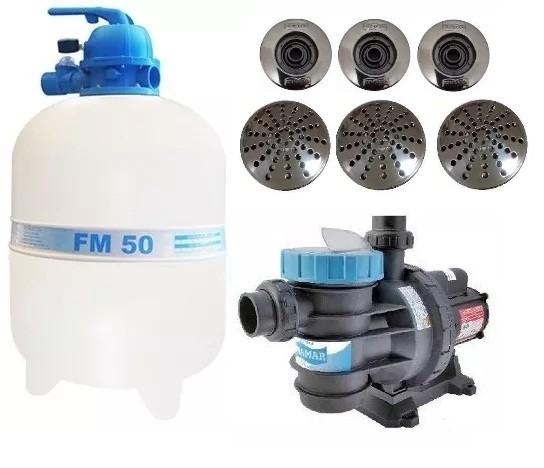 Kit Filtro Para Piscina Fm 50 + Bomba Bm 75 Motor Weg 3/4 Cv Sodramar + Dispositivos