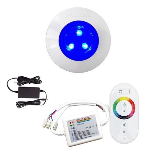Kit Iluminação Luminária Para Piscina 1 Refletor 9w ABS Controle Comando