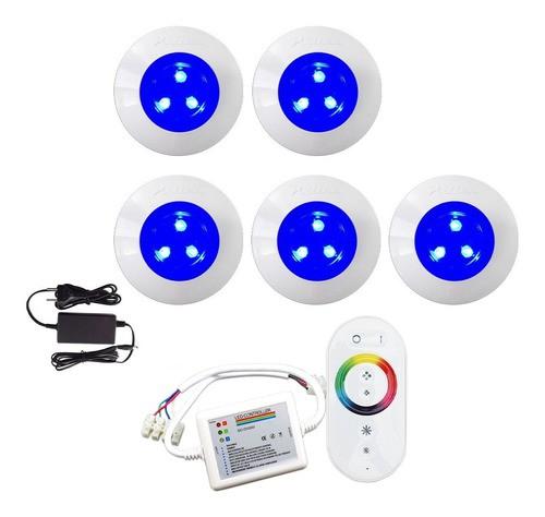 Kit Iluminação Luminária Para Piscina 5 Refletor 9w ABS Controle Comando