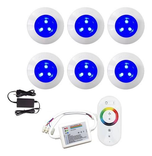Kit Iluminação Luminária Para Piscina 6 Refletor 9w ABS Controle Comando