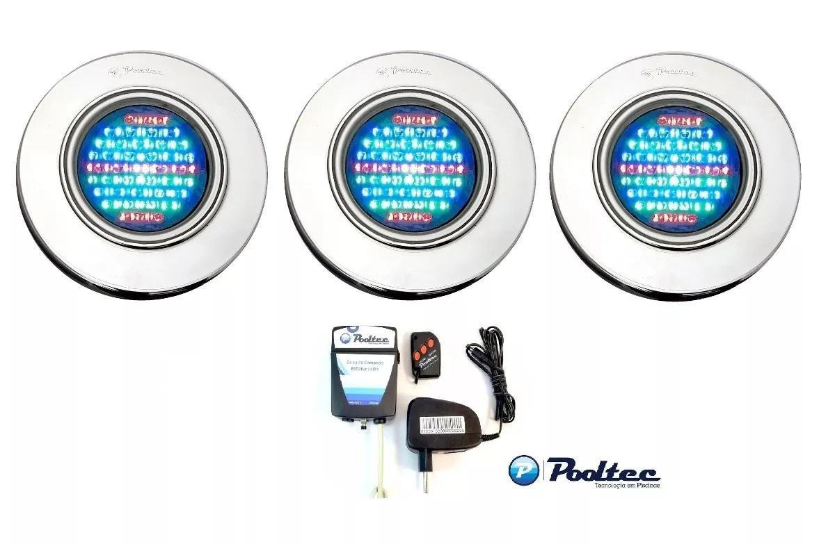 Kit Iluminação para Piscina 3 Led 65 Inox RGB Colorido + Comando e Controle Remoto - Até 27 m²