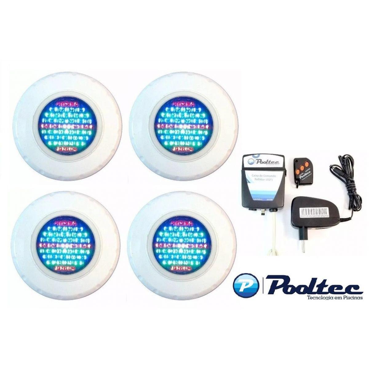 Kit Iluminação para Piscina 4 Led 65 ABS RGB Colorido + Comando e Controle Remoto - Até 36 m²