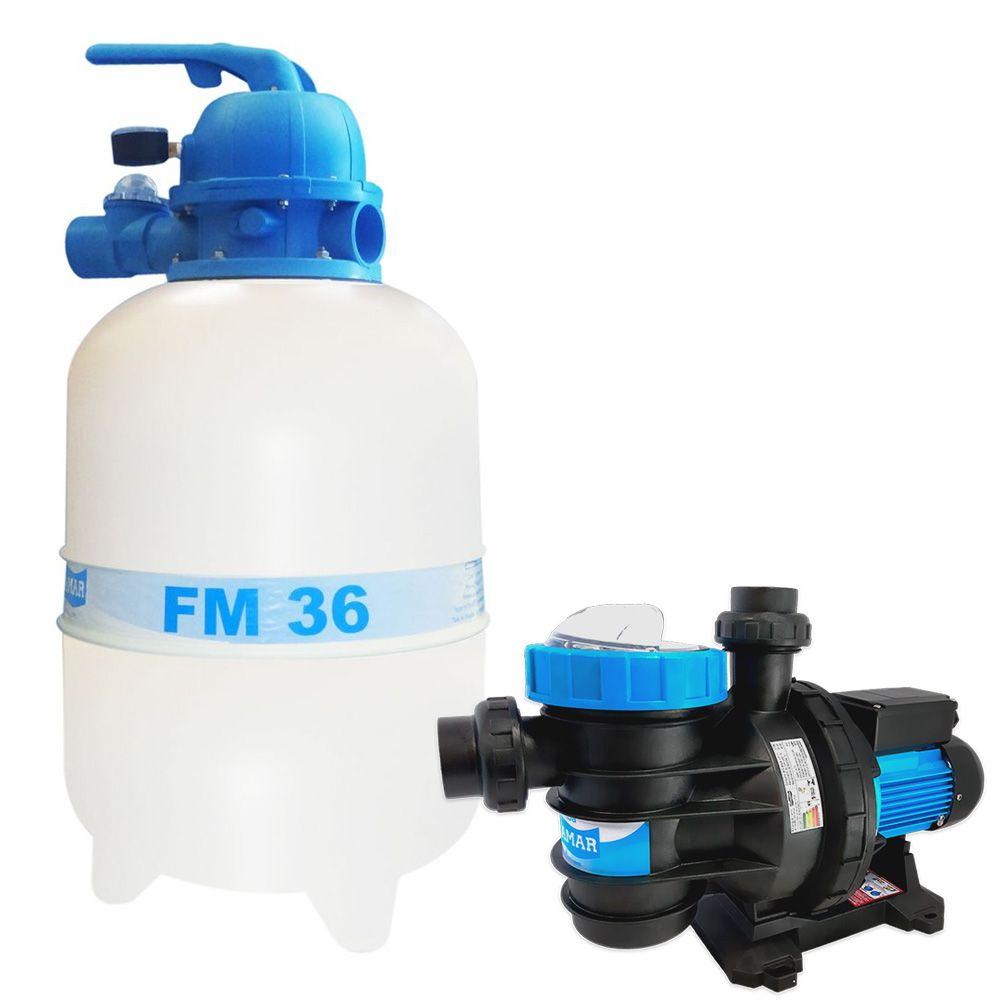 Kit Para Piscina Filtro FM-36 + Bomba 1/3 Cv Sodramar