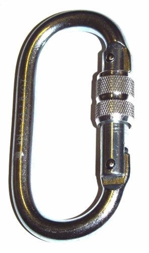 Freio Oito Aço Inox 100kn K2 + Mosquetão Aço Oval Rosca 23kn
