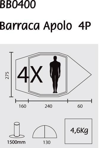 Barraca Apolo 4 Pessoas Camping Guepardo