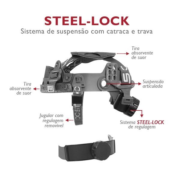 Capacete de Segurança Aba Frontal Sistema Catraca e Trava Steelflex