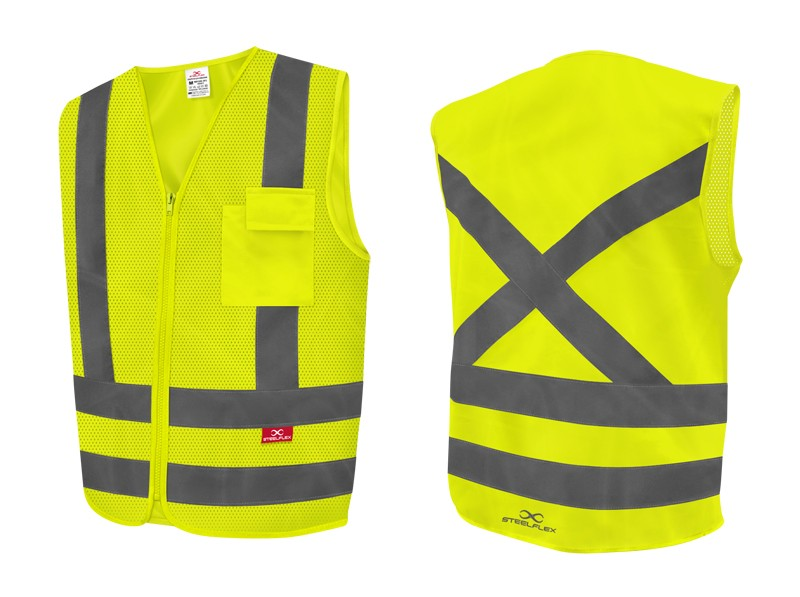 Colete Refletivo 1 Bolso Frontal Perfurado Amarelo Fluorescente Steelflex