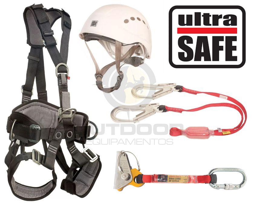 Kit completo altura Cinto, Capacete, Talabarte Y, Trava quedas Ultra Safe