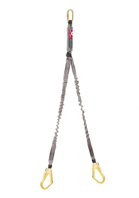 Talabarte Duplo em Y com absorvedor e elástico Gancho de 55mm e mosquetão de 18mm Steelflex