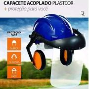 Capacete Acoplado Abafador + Viseira PLASTCOR