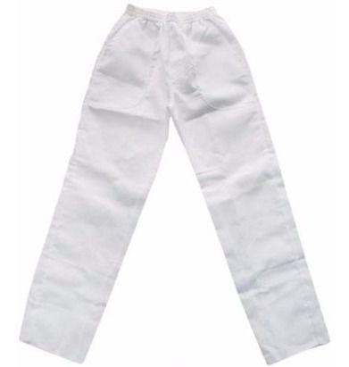 Calça Brim Elástico Branca 4 Bolsos