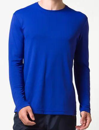 Camiseta Manga Longa Malha PV Azul Royal
