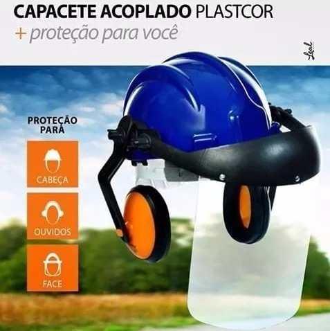 90c07c5129ede Capacete Acoplado Abafador + Viseira PLASTCOR - MAXXFER EPI - FERRAMENTAS -  SINALIZAÇÃO