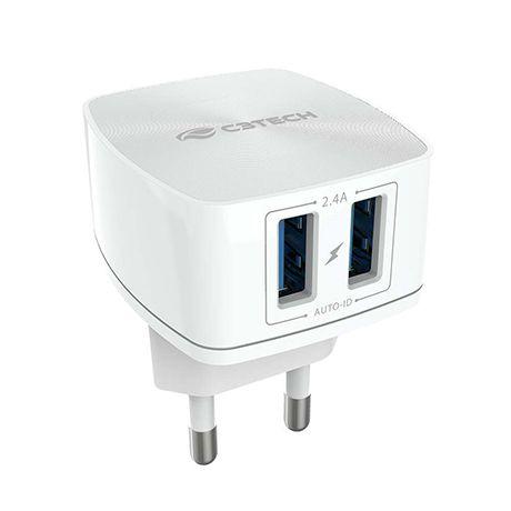 Carregador de Tomada C/2 Saídas AC/USB Bivolt UC-240WH - C3Tech