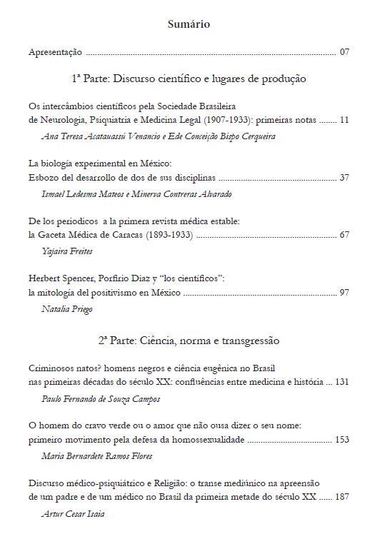 História, Ciência e Medicina no Brasil e América Latina (séculos XIX e XX)