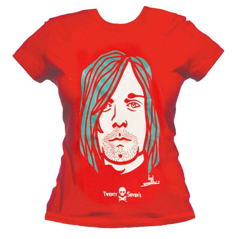 Camiseta baby look manga curta - Coleção Twenty Seven's - Kurt Cobain - cor vermelha