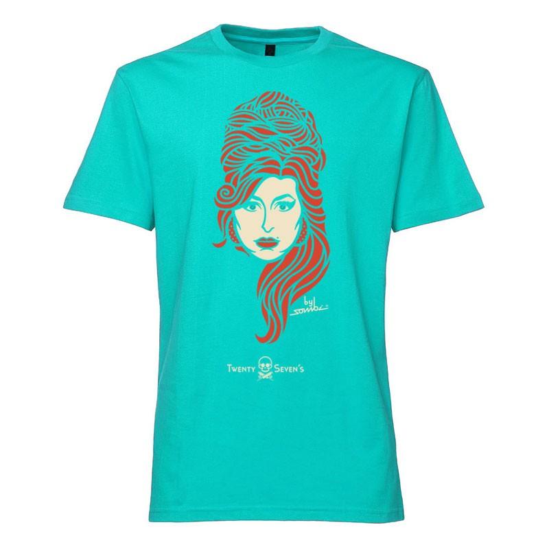Camiseta manga curta com gola redonda - Coleção Twenty Seven's - Amy Winehouse - cor azul