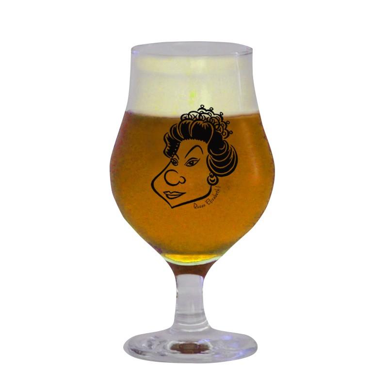 Taça de vidro para cerveja 400 ml estampa bege - Coleção Pensadores da Cerveja - Rainha Elizabeth I