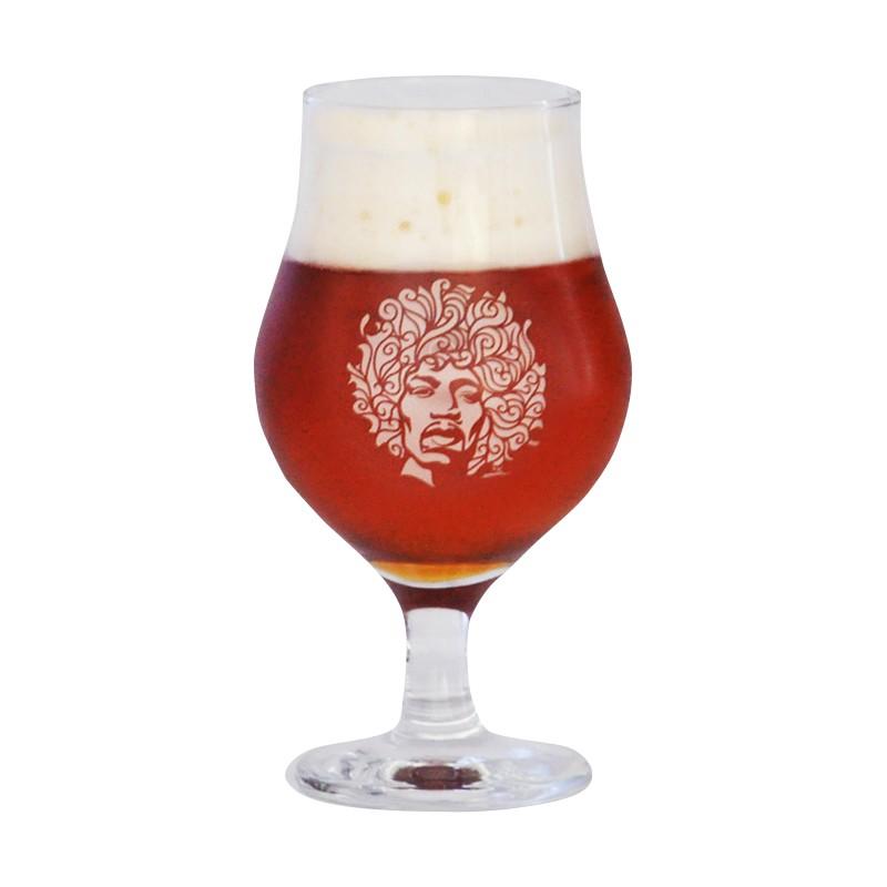 Taça de vidro para cerveja 400 ml estampa bege - Coleção Twenty Seven's - Jimi Hendrix