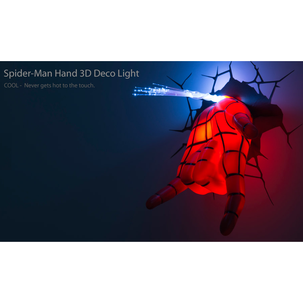 Homem Aranha Mask + Mão  Luminária LED - 3D Deco Light  - Movie Freaks Collectibles