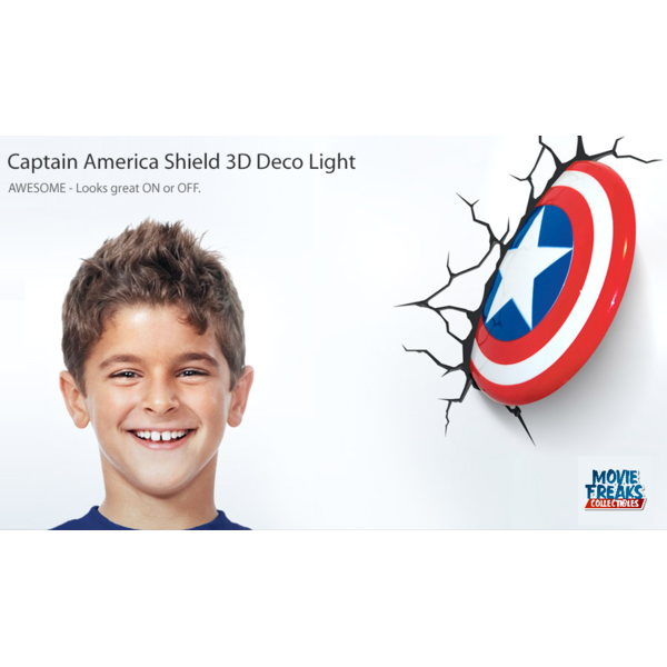 Escudo Capitão América Luminária LED - 3D Deco Light  - Movie Freaks Collectibles