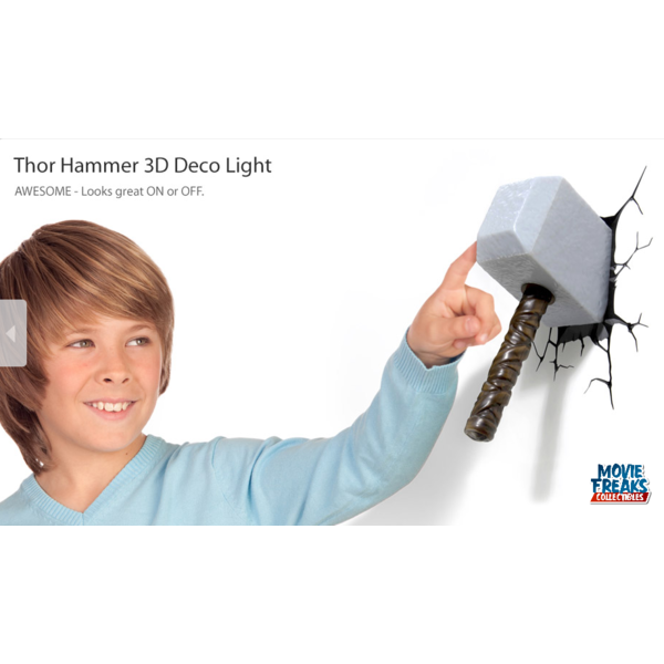 Martelo Thor Luminária LED - 3D Deco Light  - Movie Freaks Collectibles