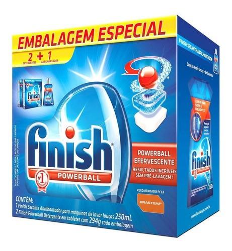 Kit Finish Lava Louça 2 Detergentes Powerball + 1 Secante