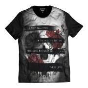 Camisa Crânio Rock Floral Morte Caveira Mexicana