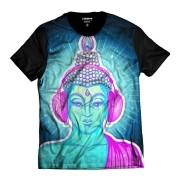 Camiseta Buda Psicodélico DJ Color Azul