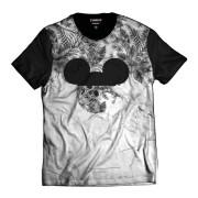 Camiseta Floral Caveira Mickey Mouse Street Wear Branca e Preta