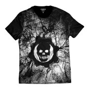 Camiseta Gears of War Símbolo Caveira Branco e Preto