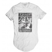 Camiseta Longline Brasões Reinos Game of Thrones GOT