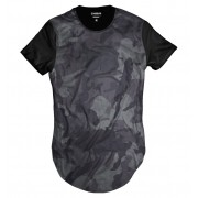 Camiseta Longline Cinza Camuflada Thug Life Exército