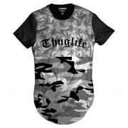 Camiseta Longline Cannabis Thug Life Camuflada Marijuana Erva