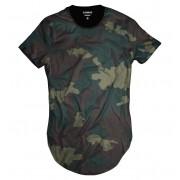Camiseta Longline Exército Verde Camuflada