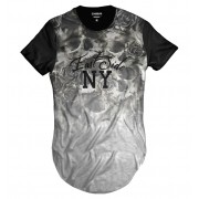 Camiseta Longline Caveira Floral East Side NY Degradê