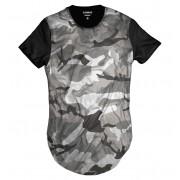 Camiseta Longline Swag Cinza Camuflada Exército