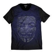 Camiseta V de Vingança Máscara Vendetta Azul
