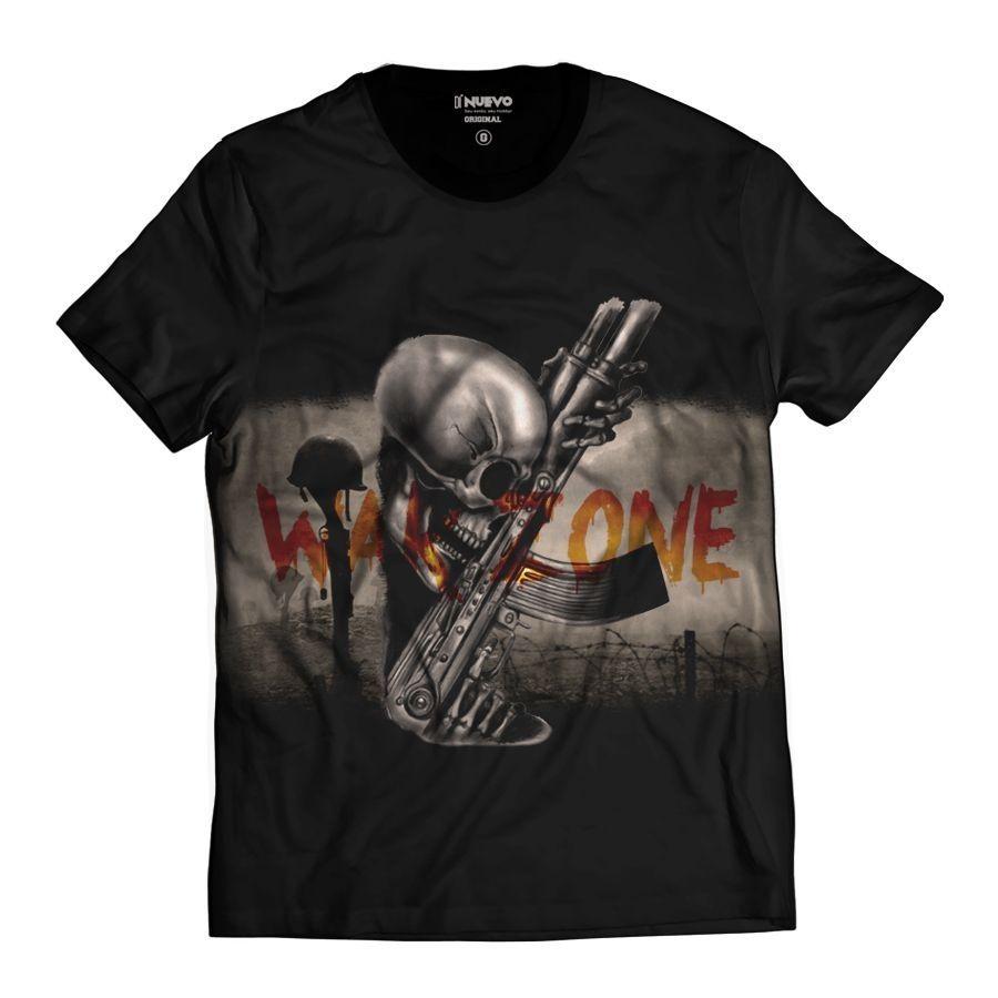 Camiseta Arma e Caveira Zona de Guerra Skull Rock Muerte